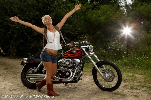 Model Lindsay Biernat with Bike and Light, by Michael Willems