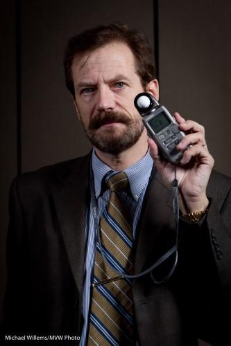 Michael Willems holding a light meter