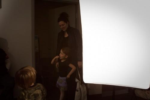 Softbox during music school shoot