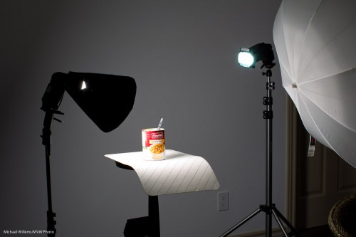 The remainder of lunch about to be photographed with speedlights (Photo: Michael Willems)