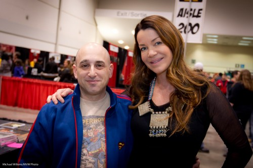 """Ed The Sock"" and Claudia Christian, Toronto, March 2011 (Photo: Michael Willems)"